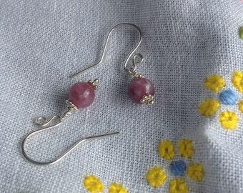Lepidolite Sterling Silver drop earrings