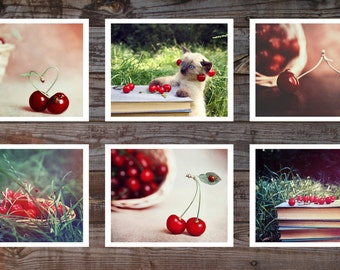 A set of 6 Fine art photography Food Cherry Kitchen decor Red Burgundy Color Still Life Nature photography Fine art prints 4 - 6 Photography