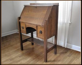 Antique 1911 Mission Arts & Crafts Desk Quarter Sawn Oak Life Time Furniture NICE