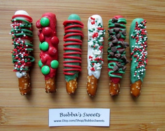 CHRISTMAS MINI Chocolate Dipped Pretzels - (24) HOLIDAY Pretzels/Stocking Stuffers/Office Gifts