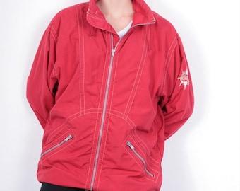 Etirel Womens S Jacket Hooded Nylon Red Vintage 90's