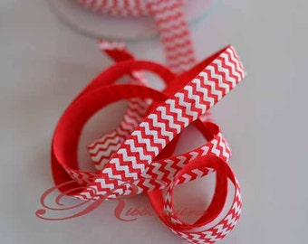 Red fold over Elastic with white print chevron , DIY hair tie , headband , foe , many colors available , sold by yard , 5 yards