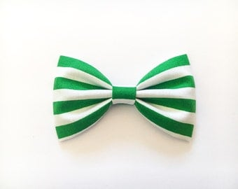 Green stripes bow hair bow bow tie