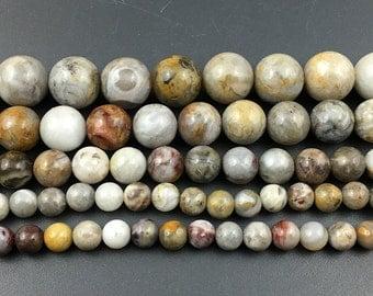 Bamboo Agate, Natural Agate Gemstone Beads, Smooth Round Stone Beads, 15'' Strand Beads 6mm 8mm 10mm 12mm