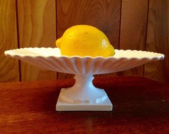 Small Vintage Napco Japan White Ceramic Pedestal Dish or Tray - Display Bowl - Very Good Condition