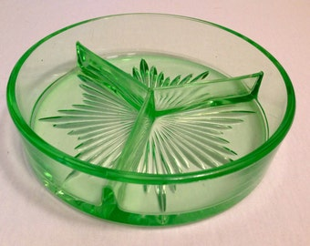 Vintage Art Deco Green Uranium or Vaseline Glass Divided Candy Nut Dish ca. 1930's - Depression Era Fluorescent Bright Green
