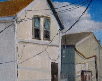 Original OIL Painting by CES - Back Alley Old Buildings Powerlines Mini ART Blue Sky Clouds Small Town Saskatchewan Rustic 6""