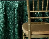 SALE Emerald Sequin Table Cloth TableCloth Sequin Sparkly Christmas Table Sequin Linen Sweet Heart Table Cake Table Glittery Pine Green Dark