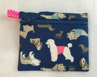 Darling Dogs Zipper Coin Purse, Credit Card, Earbud, iPod Pouch