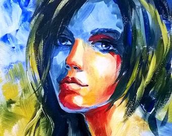 Portrait of a girl, acrylic on canvas, 30x40 cm