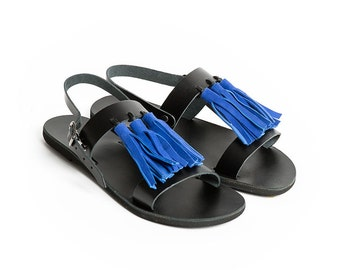 THALATTA BLUE TASSELS,blue leather tassels sandals handcrafted in Greece