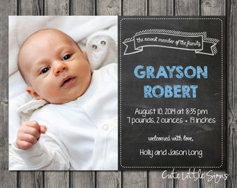 Chalk Birth Announcement Baby Boy Digital Download