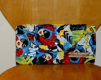 Womens Wallet - Batgirl Wallet - Superhero Wallet - Foldover Clutch - Girl Power Wallet - Fabric Wallet - Gifts for Her - Valentine Gift