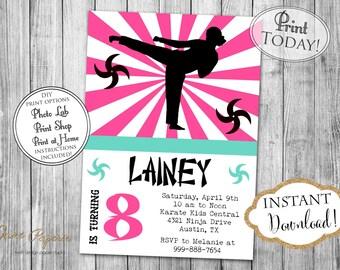INSTANT DOWNLOAD - Girl Ninja Birthday Invitation - Karate Martial Arts - Girls Ninja Warrior Party - Editable Invite - Pink Mint - 0201