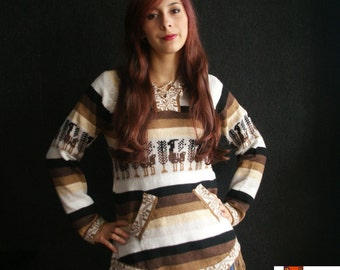 Warm hoodie Sweater, Jumper, Jersey,  pullover, cardigan, Alpaca Wool Soft Warm, Knitted, brown, beige, ecrue, black ethnic design