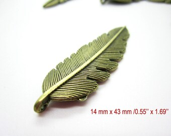 30 pcs feather pendant, feather charms, jewelry findings #1272