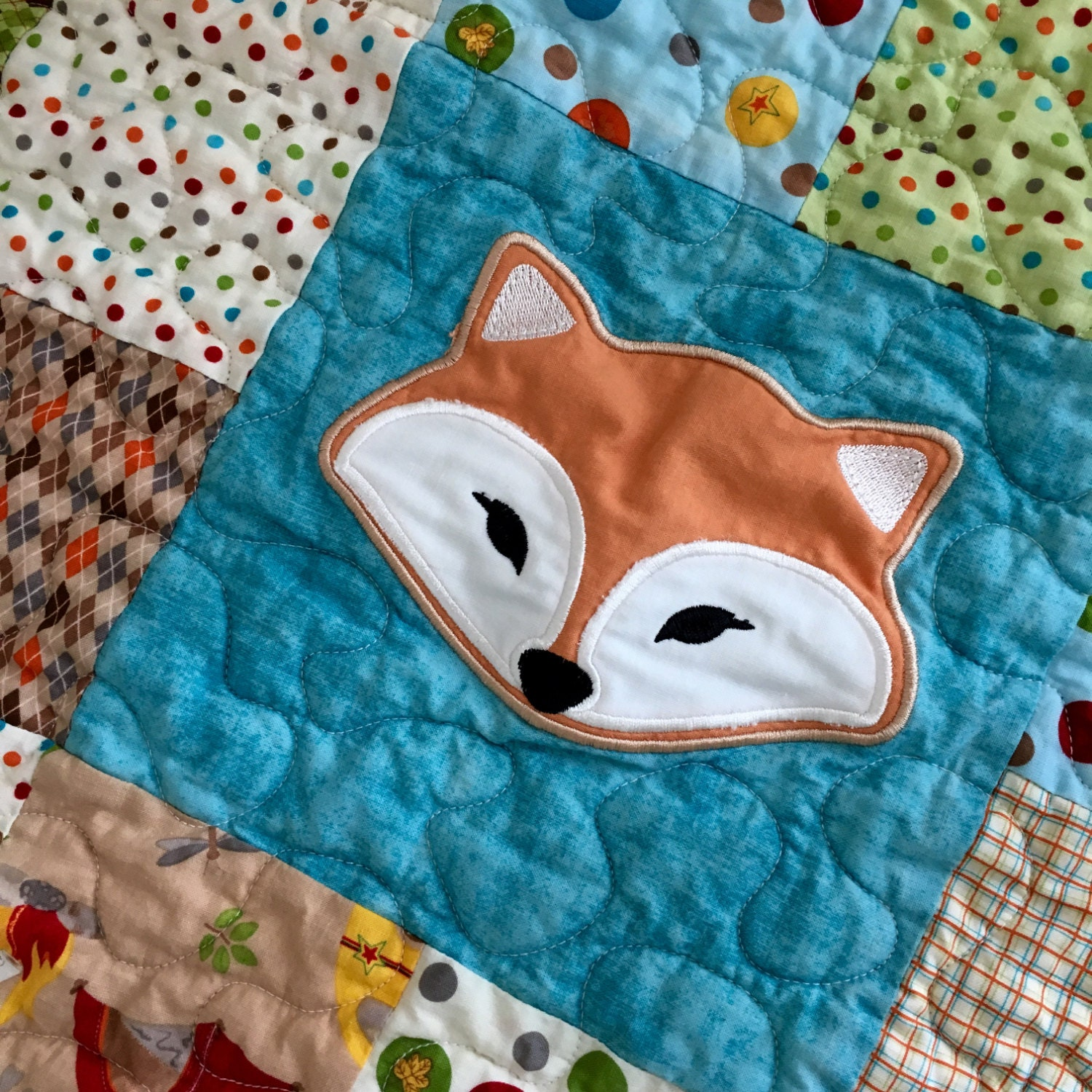 Ready To Shipbear And Fox Quilt Baby Quilt By Trianglequilting