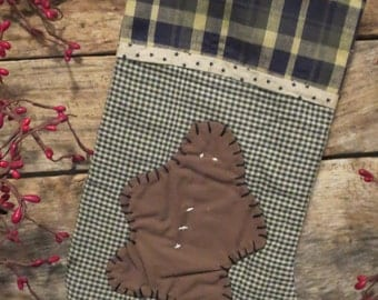 Country Primitive Christmas Stocking - Gingerbread Man