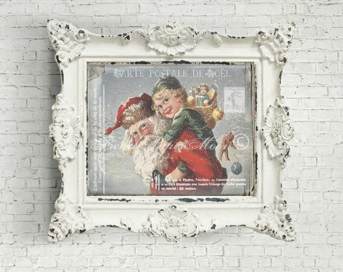Shabby Santa and Boy Digital Postcard, Antique Santa Carrying Boy Image, Instant Download, Christmas Pillow Transfer