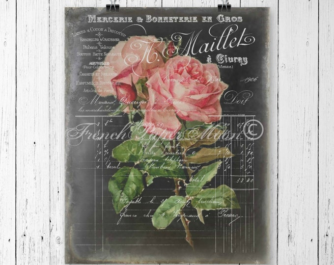Victorian Digital Chalkboard Roses, Digital Roses, French Pillow Image, Instant Download Printable