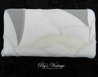 Vintage Soft White And Gray Leather Patchwork Wallet / Clutch, Organizer Wallet
