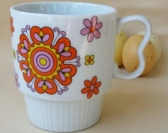 Vintage Flower Power Coffee Cup ~ Mod ~ Stacking Cup ~ 1960's ~ Psychedelic Art ~ Tea Cup ~ Hippie Mod ~ Retro Kitchen Ware ~ Japan ~ Mug