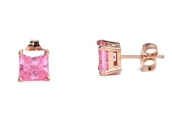 Pink diamond rose gold stud earrings (sale)