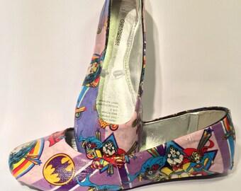Wonder Woman Batgirl Supergirl Fabric Covered Ballet Flats