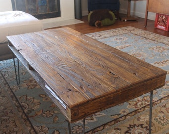 barn wood coffee table herringbone table hairpin legs