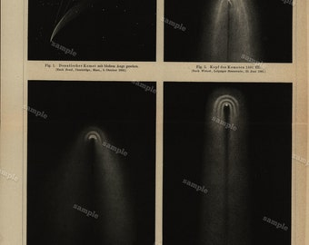 1885 Original Antique  Lithograph of Various objects  Comets Black and white - fold out- Decorative art- wall art- home decor
