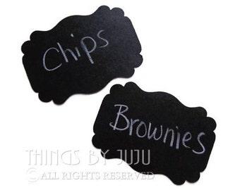 100 Black Tags, Almost Chalkboard Label Tags, Black Gift Tags, Black Wedding Tags, Food Buffet Tags