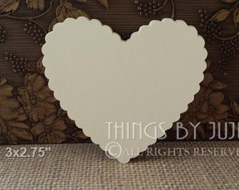 100  Ivory Scallop Hearts, Large Bride And Groom Advice Cards, DIY Wedding, Large Paper Heart, Escort Cards, Wish tags(3x2.75)