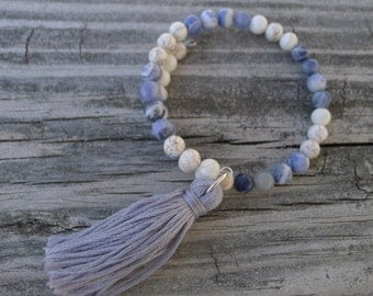 Memory Wire Beaded Bracelet with Tassel