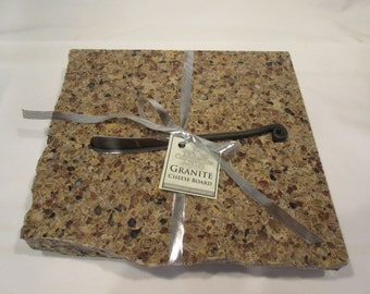 Granite Cheese Board, Medium/ Large size, brown mix, includes wrought iron style cheese knife