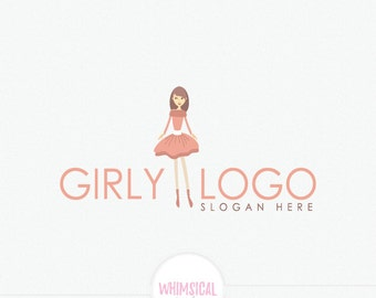 Cute girl logo - Cute doll store - children boutique - dance store - tutu dress