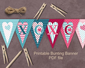 Valentine XOXO bunting  banner - printable Valentine's Day decoration - pink teal hearts pennants PDF file download for DIY