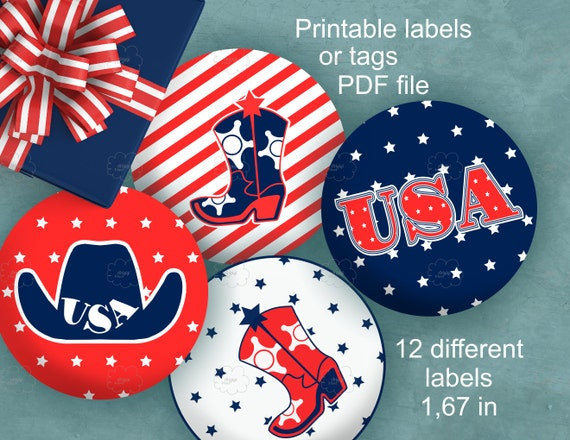 printable round labels - American patriotic holidays, 1.67 in circle label, Memorial Day, red white blue, cowboy boot, word USA, download
