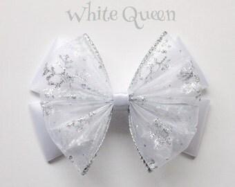 white queen hair bow