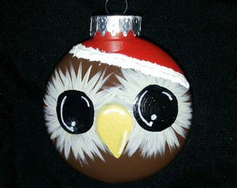 So cute!!! Hand Painted owl Christmas ornament!