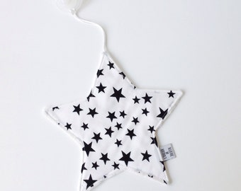 Starshaped pacifier cloth with black&white star print