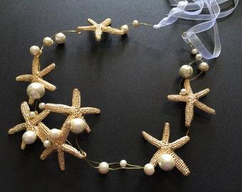 Lovely GOLD Starfish Bridal Bridesmaids Swarovski Rhinestones Crystals Hair Comb Headband Tiara, Wedding Tiara, Bridal Tiara, Stars Tiara