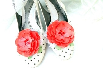 Red coral Shoes Clips,Wedding ,Silk Flower,Coral flowers , Red roses ,  Accessories wedding , Accessories for women ,Shoe Accessories