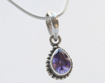 Vintage Bali Silver Mini Pendant, Bali Silver Pendant  with faceted crystal, Purple Crystal Pendant - FREE UK DELIVERY