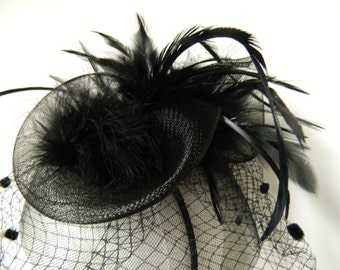 Vintage inspired black feather tulle headband fascinator