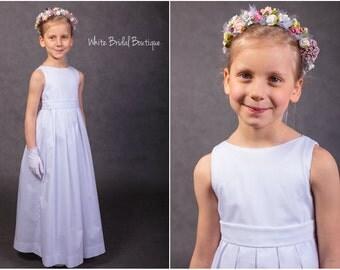 White girl dress Communion dress Flower girl dress White dress Baptism dress Christening dress Cotton girl dress White communion gown