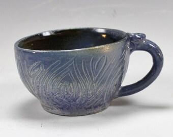 Wide Blue Ceramic Mug