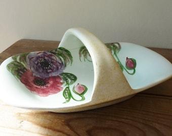 Handpainted Vintage dish with handle - E Radford England