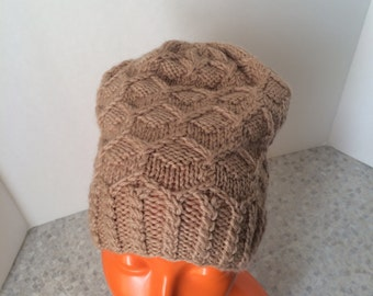 Hand Knit Slouchy Hat, Pure Wool