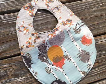 Bib ~ Two Toned/Quilted ~ Woodland//Geo//Tribal//Trees//Buck//Forest//Butterfly//Native