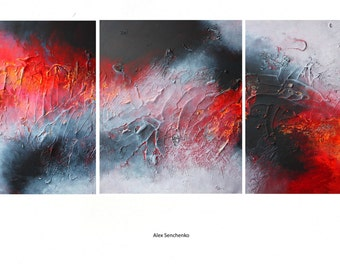 Abstract Triptych. Textured acrylic painting. Contemporary ART. modern original canvas abstract painting wall art decor by Alex Senchenko ©